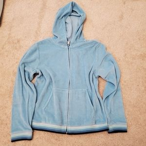 Girls blue zip up hoodie sweater